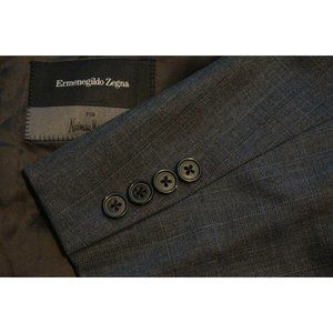 Ermenegildo Zegna Gray Windowpane Wool 2 Pc Suit